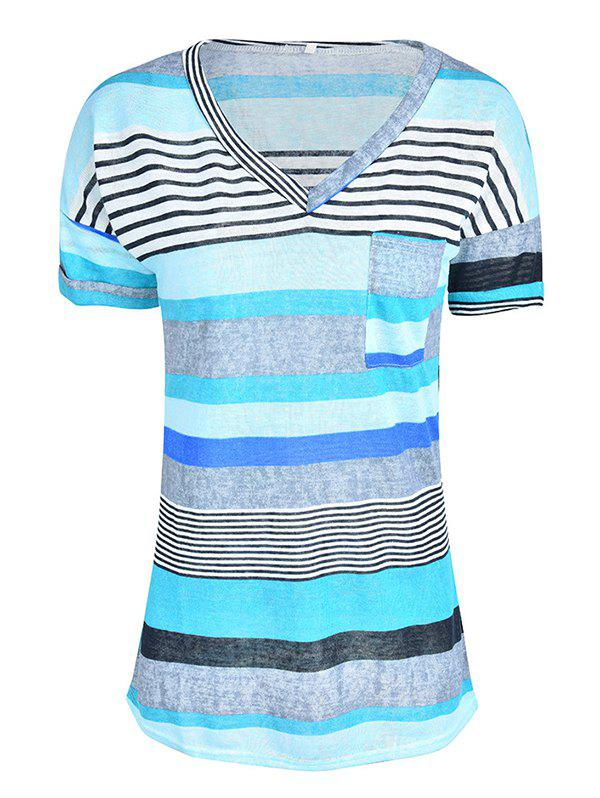 Fashion Women Stylish Pocket Striped Short Sleeved Tee