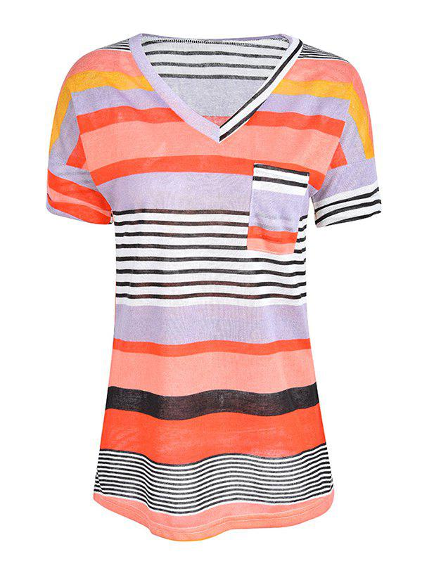 Affordable Women Stylish Pocket Striped Short Sleeved Tee