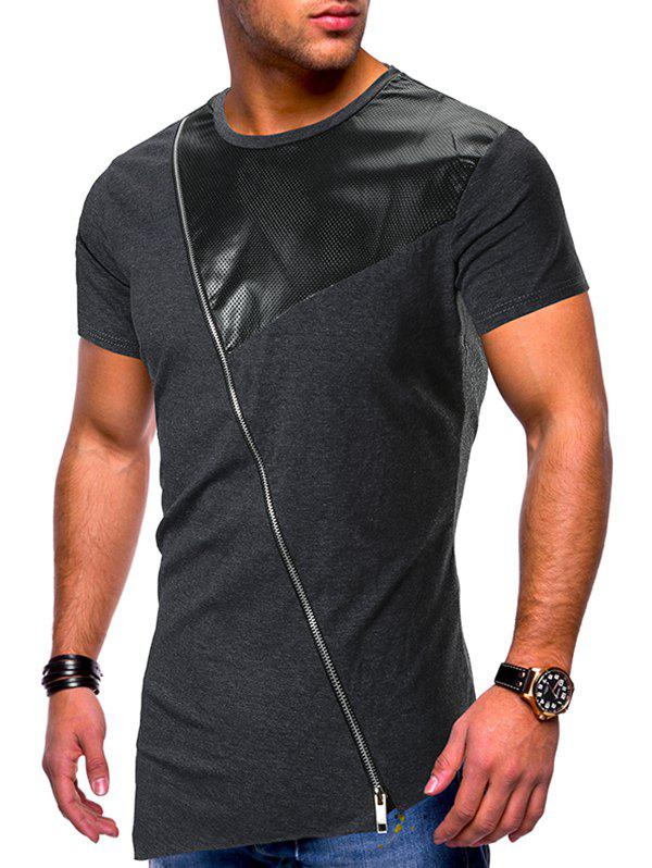 New Short Sleeves Side Zipper Panel T-shirt