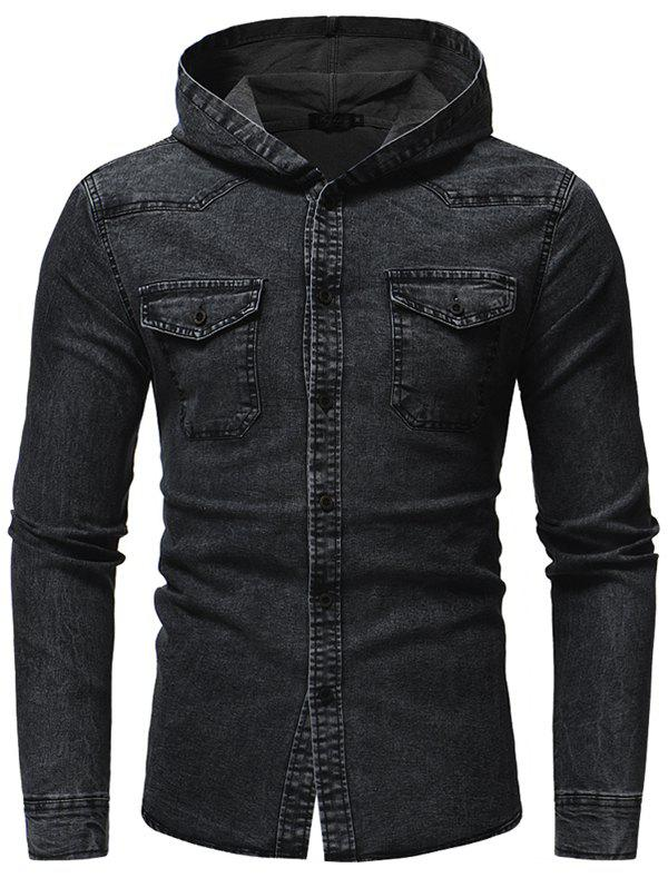Cheap Fashion Washed Men's Casual Slim Long-sleeved Hooded Denim Shirt
