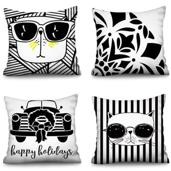 Best Polyester Happy Ho Square Cat Family Digital Printing Pillowcase