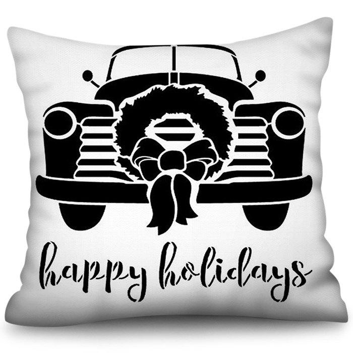 Store 3D Digital Printing Polyester Pillowcase Happy Holiday Square Sofa Cushion Cover