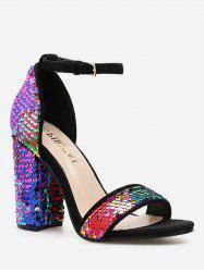 Colorful Sequined Ankle Strap Sandals -