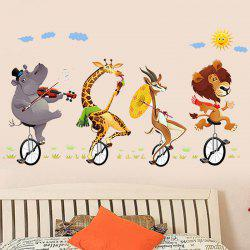 3D Stereo Animal Riding Bicycle Wall Sticker -