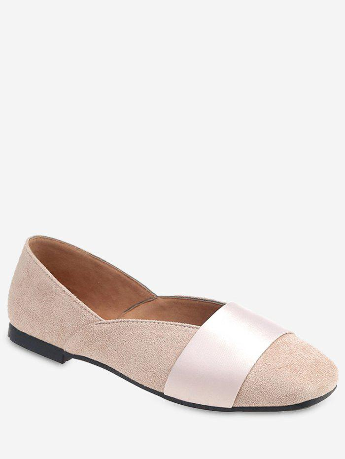 Trendy Contrast Band Square Toe Flats