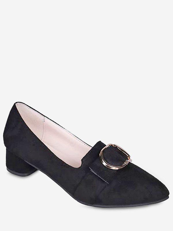 Shops Buckle Pointed Toe Chunky Heel Shoes