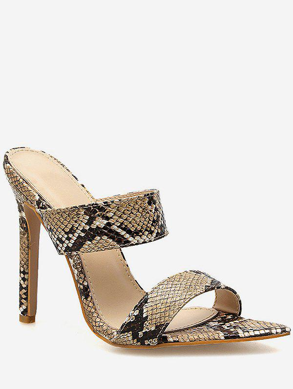 Chic Snake Print Stiletto Heel Slingback Sandals