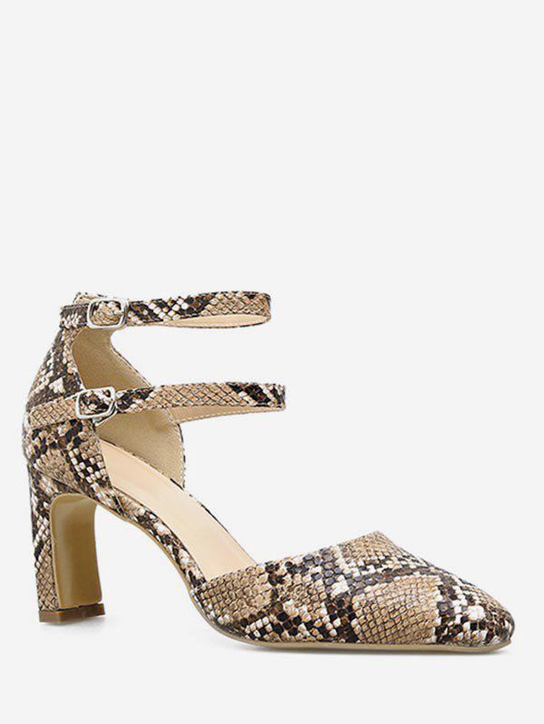 Buy Snake Print Pointed Toe Chunky Heel Pumps