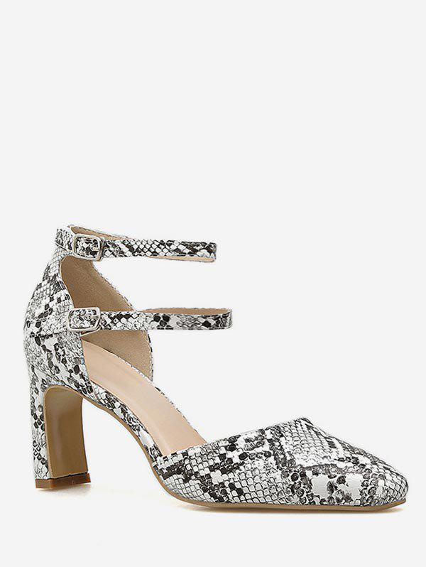 Latest Snake Print Pointed Toe Chunky Heel Pumps