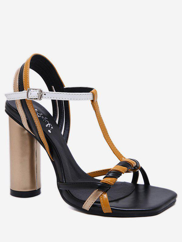 Fancy Color Block T Strap Chunky Heel Sandals