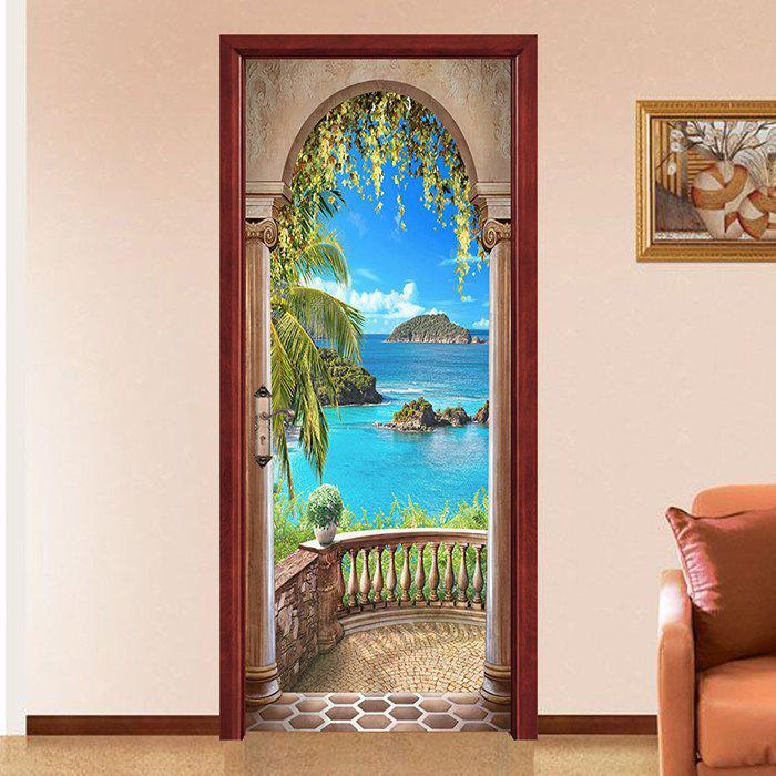 Discount Creative Personality Beautiful Sea Door Sticker 2pcs