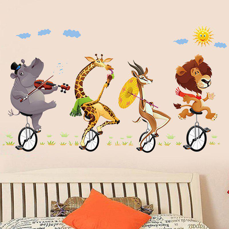 Latest 3D Stereo Animal Riding Bicycle Wall Sticker