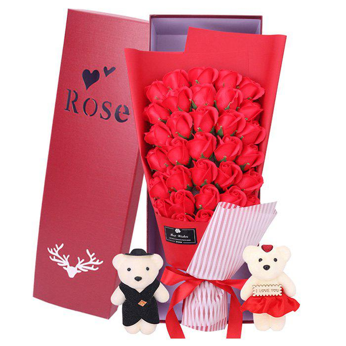 Affordable 33 Rose Soap Bouquet Gift Box for Valentine's Day