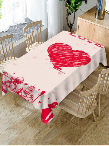 Valentines Day Love Heart Print Fabric Waterproof Tablecloth
