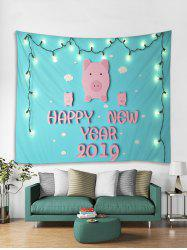 HAPPY NEW YEAR Pig Print Tapestry Wall Hanging Art Decoration -