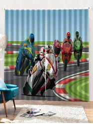 2PCS Speedy Biker Pattern Window Curtains -
