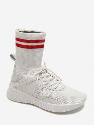 Striped Patch Sock Sneakers Boots -
