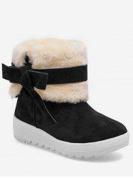 Bowknot Faux Fur Hidden Heel Snow Boots -