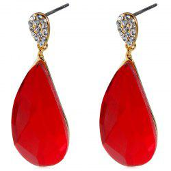 Gold-plated Inlaid Zircon Drop-shaped Crystal Earrings -
