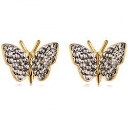 Fashion Gold-plated Inlay Zircon Butterfly Stud Earrings -