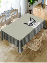 Cat In Glasses Print Fabric Waterproof Tablecloth -
