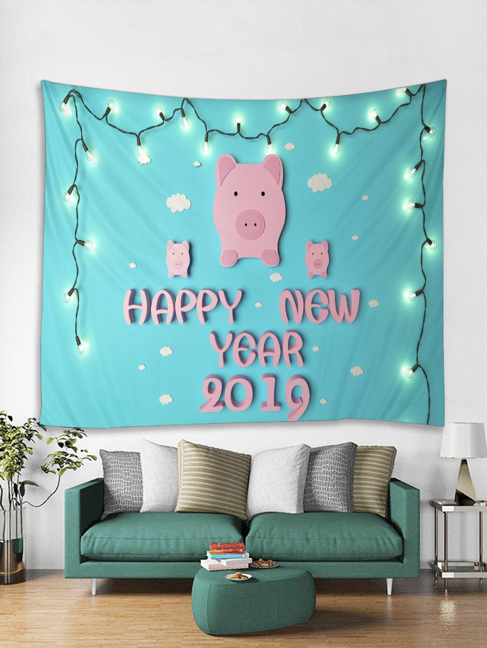 Fancy HAPPY NEW YEAR Pig Print Tapestry Wall Hanging Art Decoration