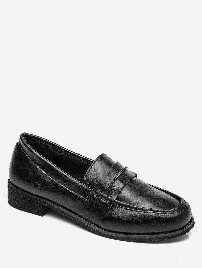 Unique Moc Toe Faux Leather Slip On Shoes