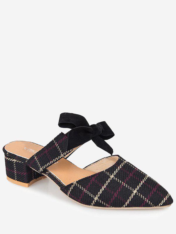 Affordable Plaid Print Pointed Toe Slingback Sandals