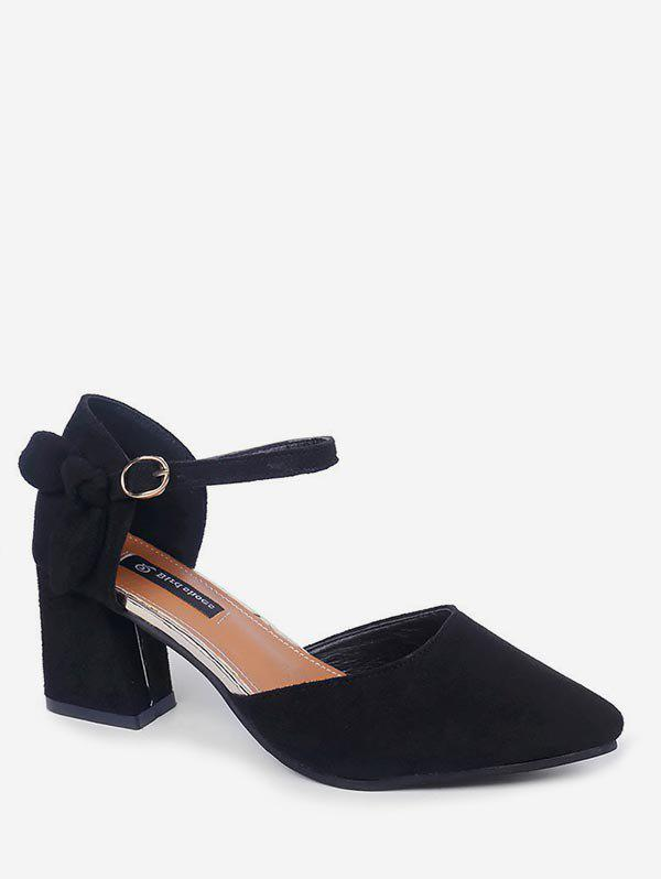 Cheap Bow Pointed Toe Chunky Heel Sandals