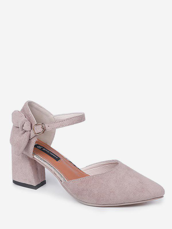 Discount Bow Pointed Toe Chunky Heel Sandals