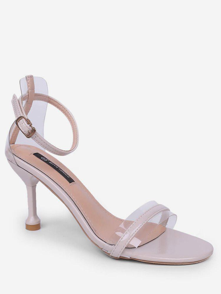 Fancy Clear Design Ankle Strap Heeled Sandals