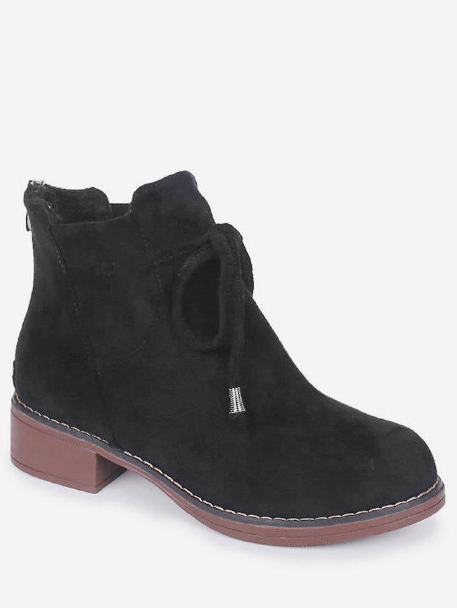 Cheap Bow Tie Chunky Heel Ankle Boots