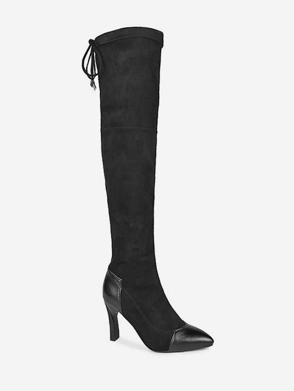 Fancy Pointed Toe Stiletto Heel Thigh High Boots