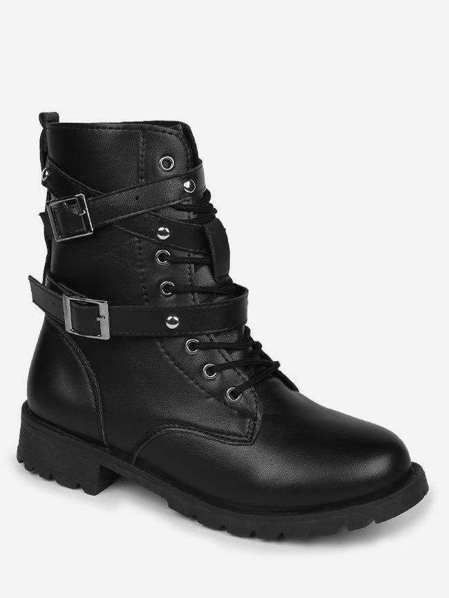Fancy Double Strap Lacing Mid Calf Boots