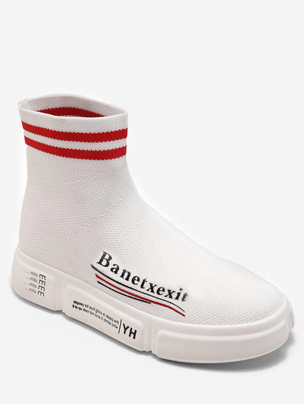 Discount Letter Striped Sock Sneaker Boots