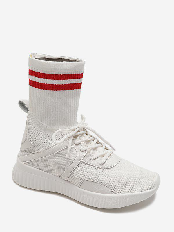 Outfits Striped Patch Sock Sneakers Boots