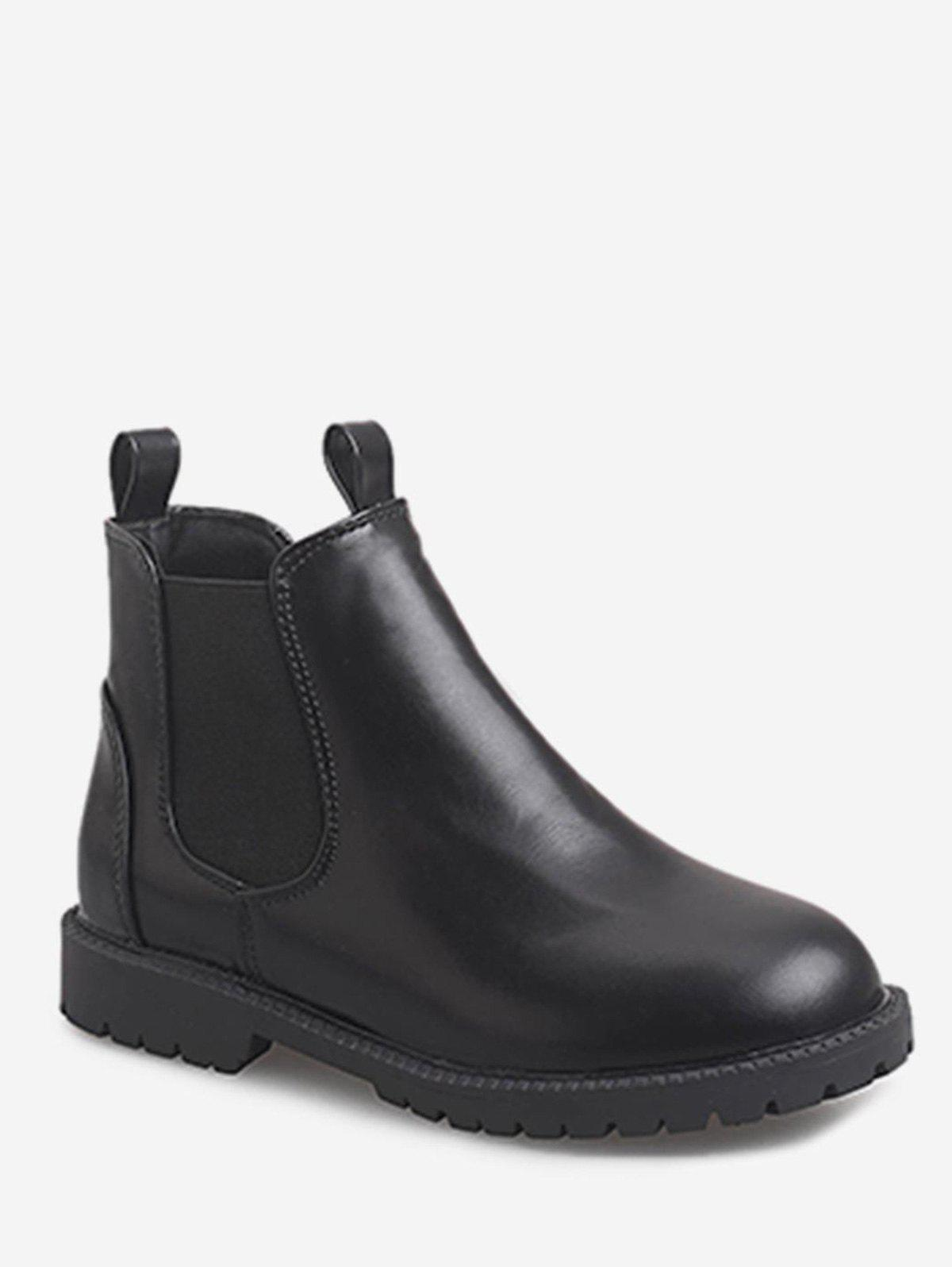 Affordable Round Toe PU Leather Chelsea Boots