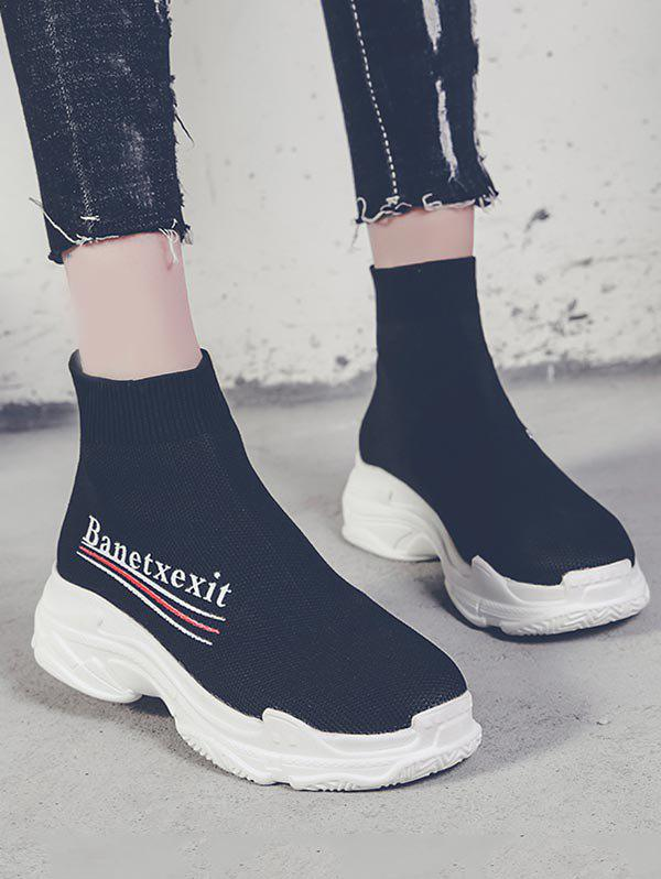 Outfit Letter Design Sock Sneaker Boots