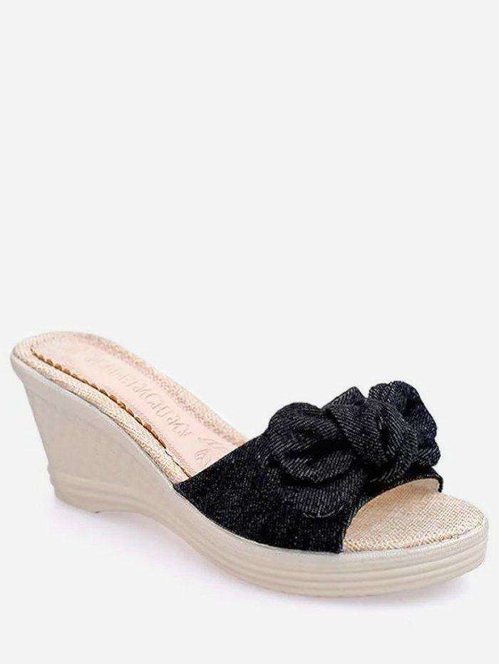 Chic Bowknot Wedge Heel Summer Slippers