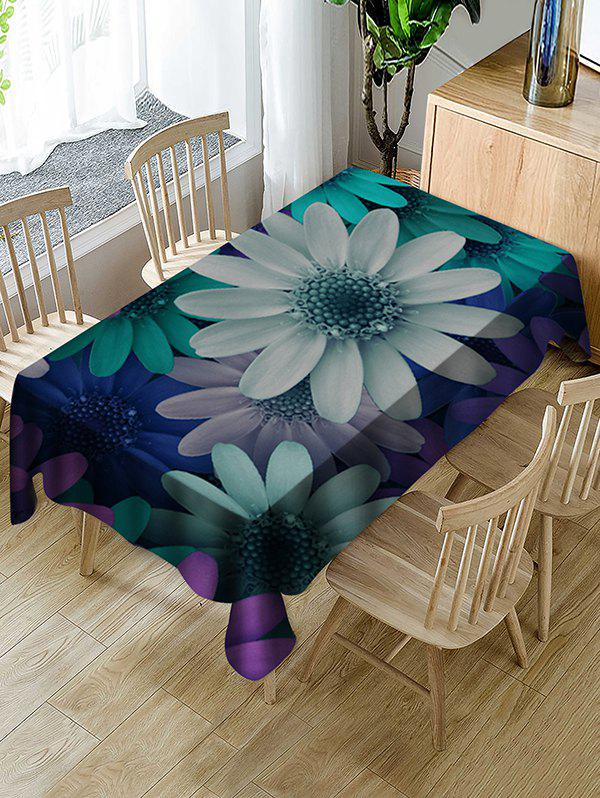 Unique Colorful Flowers Print Fabric Waterproof Tablecloth