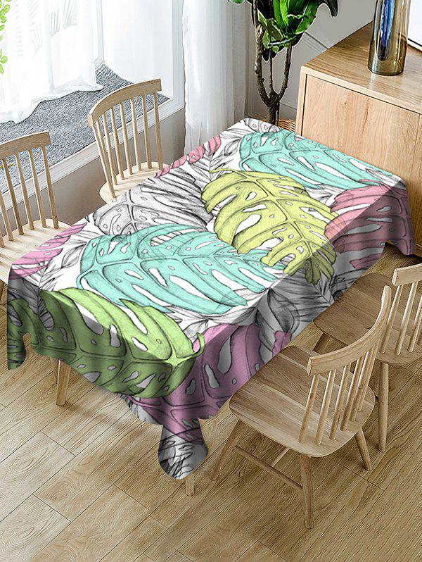 Online Colorful Palm Leaf Print Fabric Waterproof Tablecloth