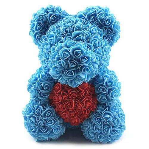 Valentines Birthday Gift Rose Color Matching Flower Bear 40cm, Deep sky blue