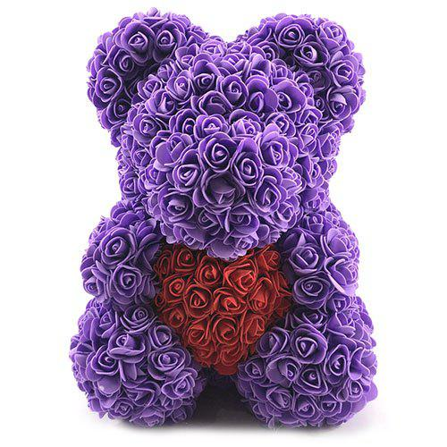 Latest Valentines Birthday Gift Rose Color Matching Flower Bear 40cm