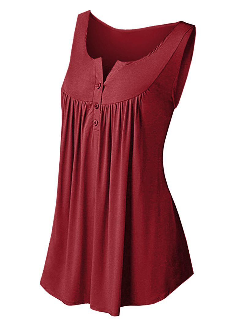 Online Solid Color Pleated Sleeveless Casual Women's Vest