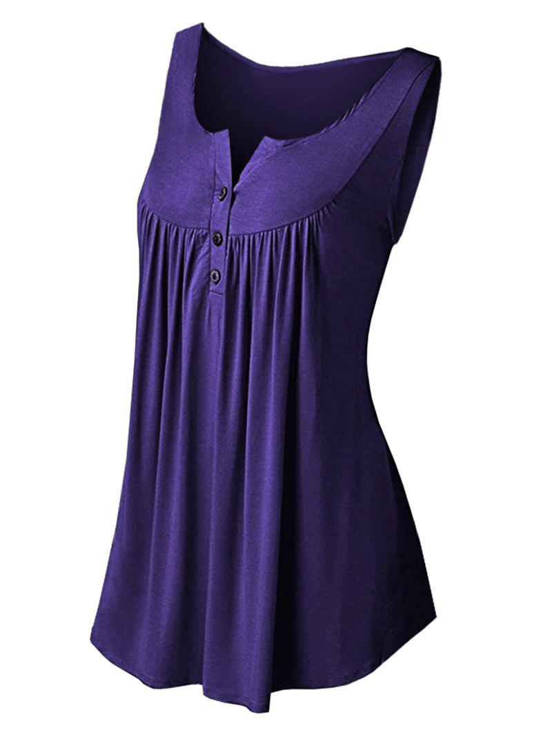 Chic Solid Color Pleated Sleeveless Casual Women's Vest