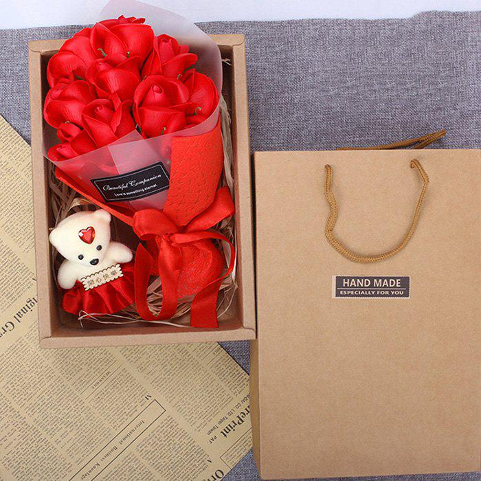 Discount Valentine Day Gift 11 Soap Bouquet Roses with Box
