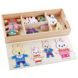 Cartoon Rabbit Wooden DIY Puzzle Toy -
