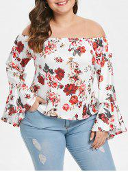 Plus Size Floral Print Flare Sleeve Blouse -