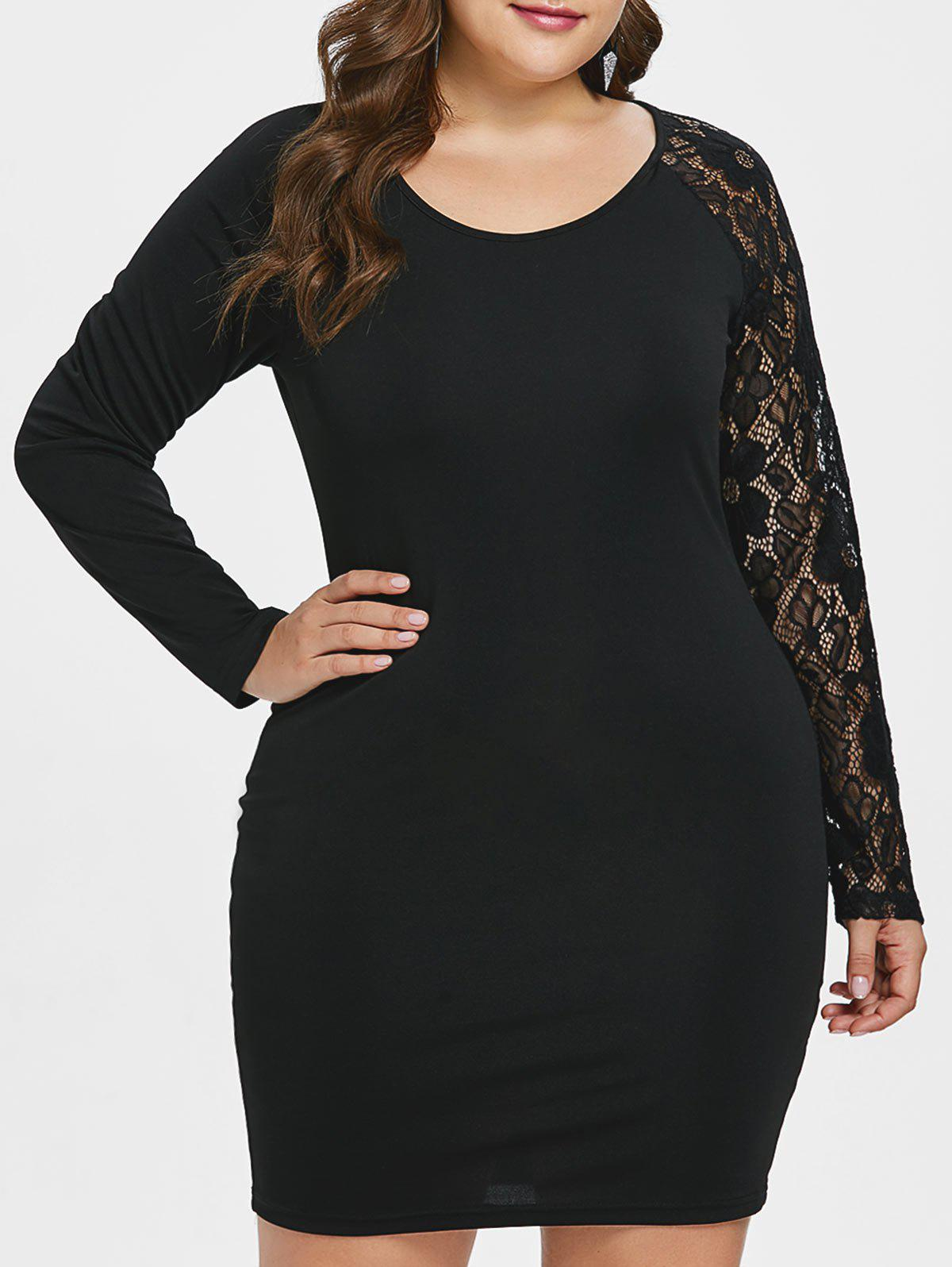 Outfits Plus Size Raglan Sleeve Lace Insert Dress