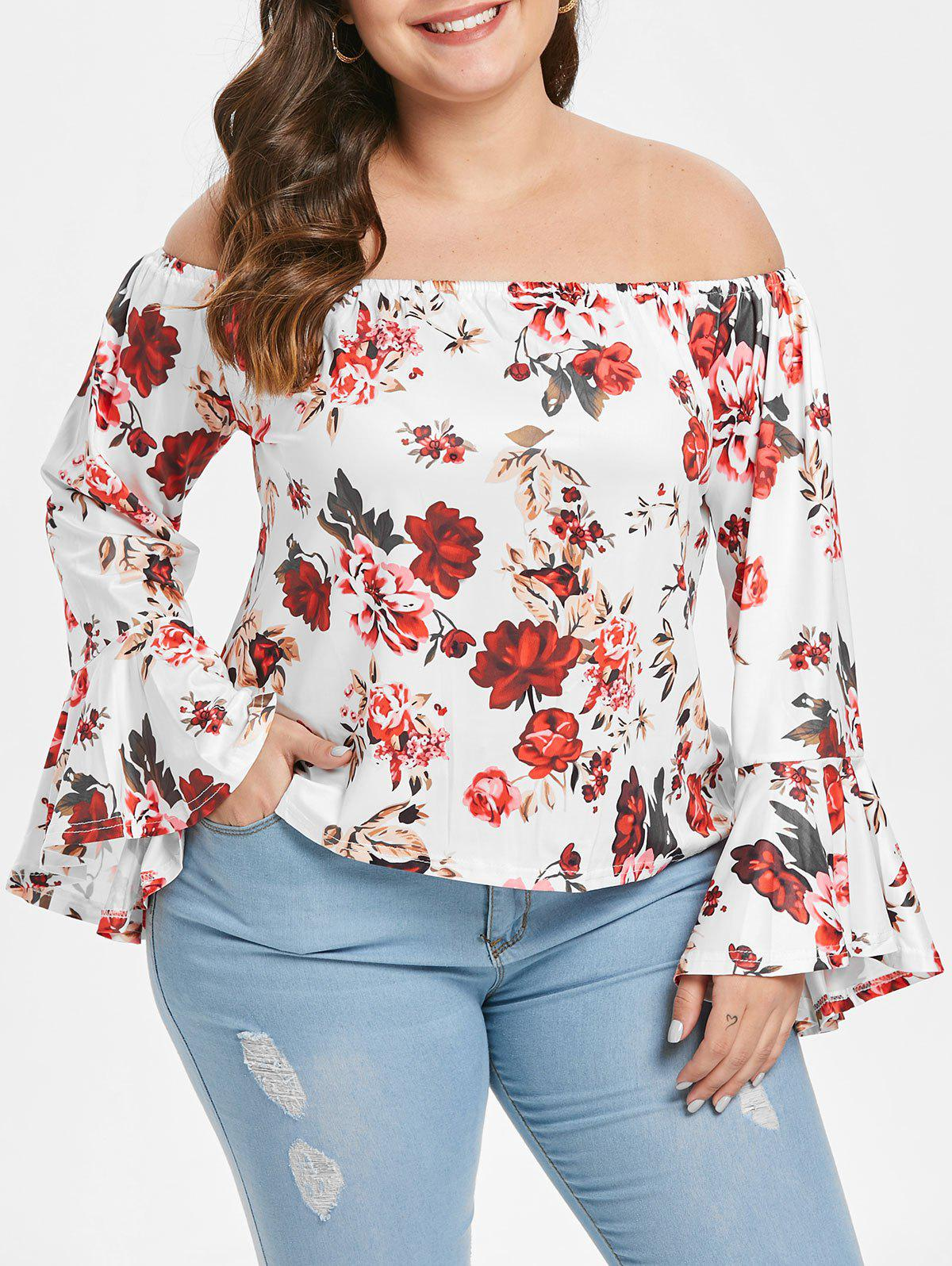 Discount Plus Size Floral Print Flare Sleeve Blouse